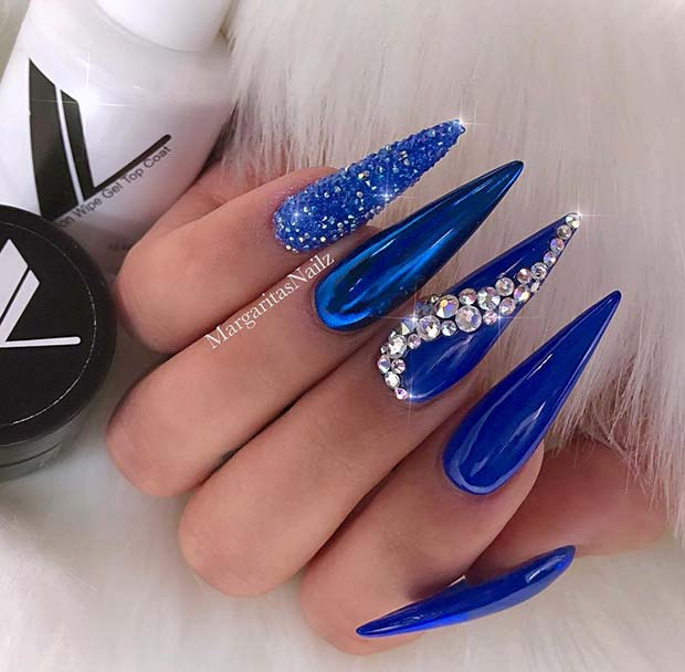 19. Long, Chrome Stiletto Nails