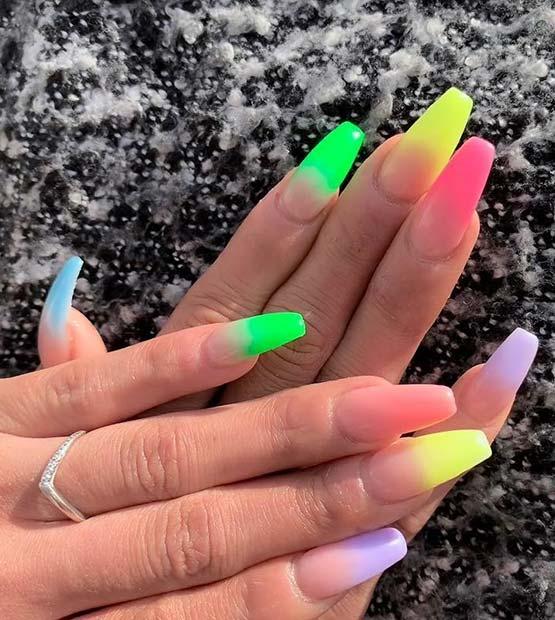Colorful Ombre Nail Idea