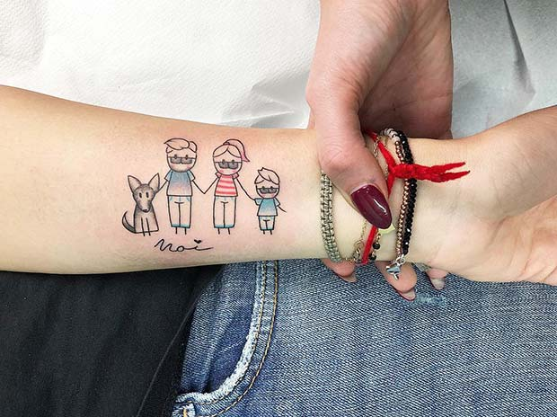 Cute Family and Pet Tattoo Idea