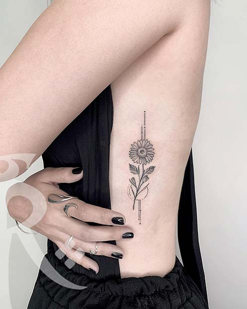 Simple Flower Rib Tattoo