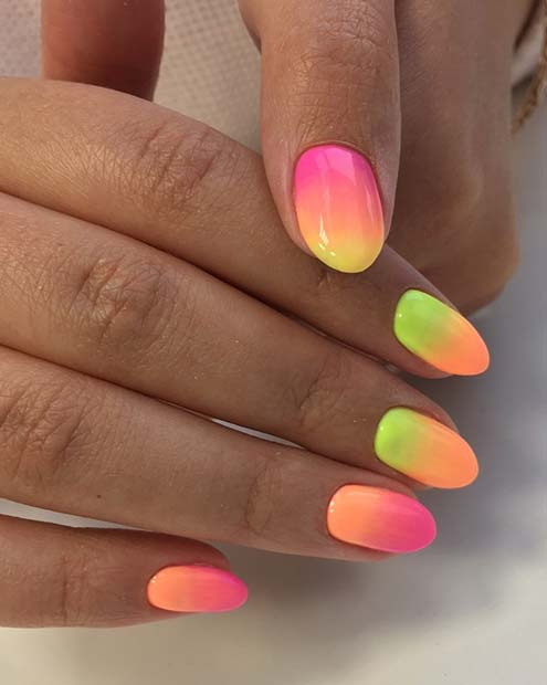 Neon Gradient Nails for Summer