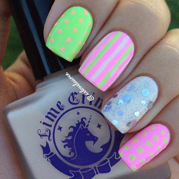 Polka Dots and Stripes - Summer Nail Design