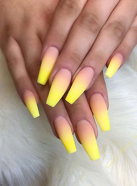 Matte Yellow and Nude Ombre Nails