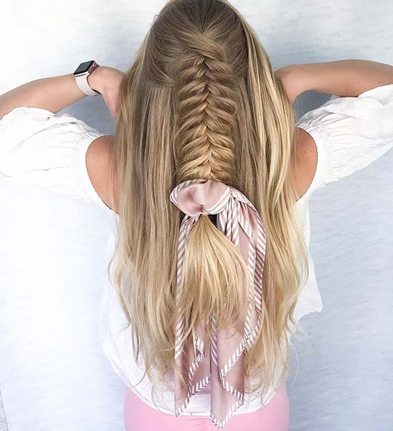 Accessorized Half Up, Half Down Fishtail Braid