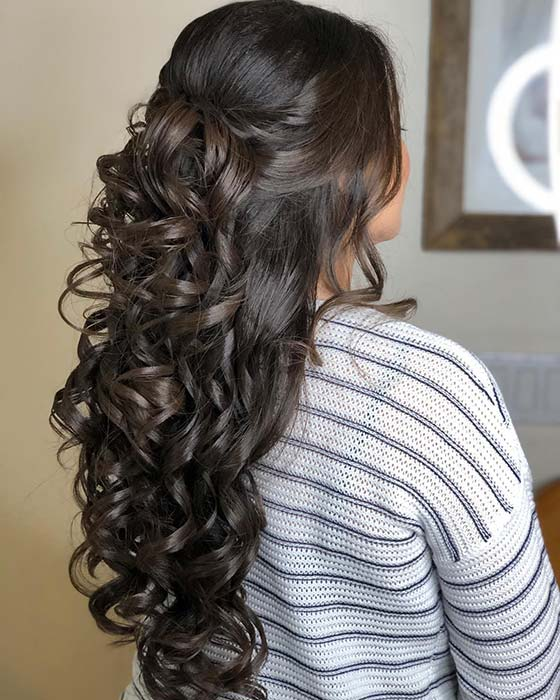Long Half Up, Half Down Curls