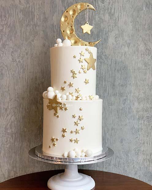 Beautiful Moon And Stars Cake