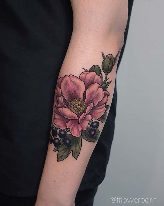 Botanical Peony and Blackberry Tattoo