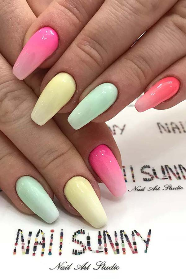 Bright Colorful Ombre Nails