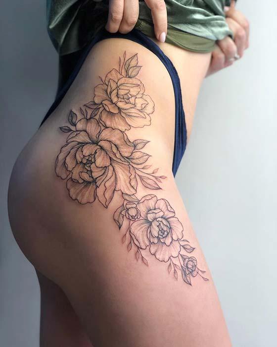 Chic Peony Thigh Tattoo