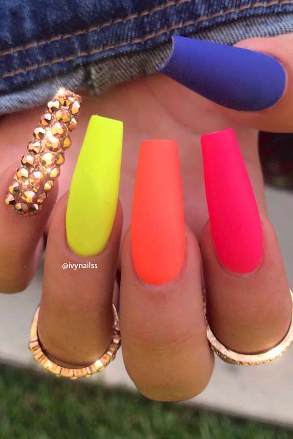 Matte Vibrant Nails with Glam Gold Gems