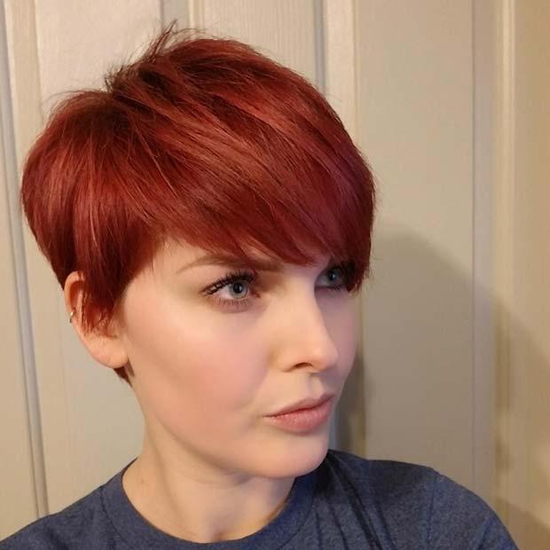 Fiery Red Pixie Cut