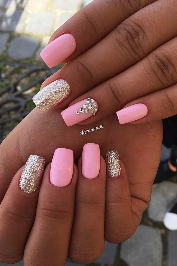 Light Pink Nail Design with Glitter