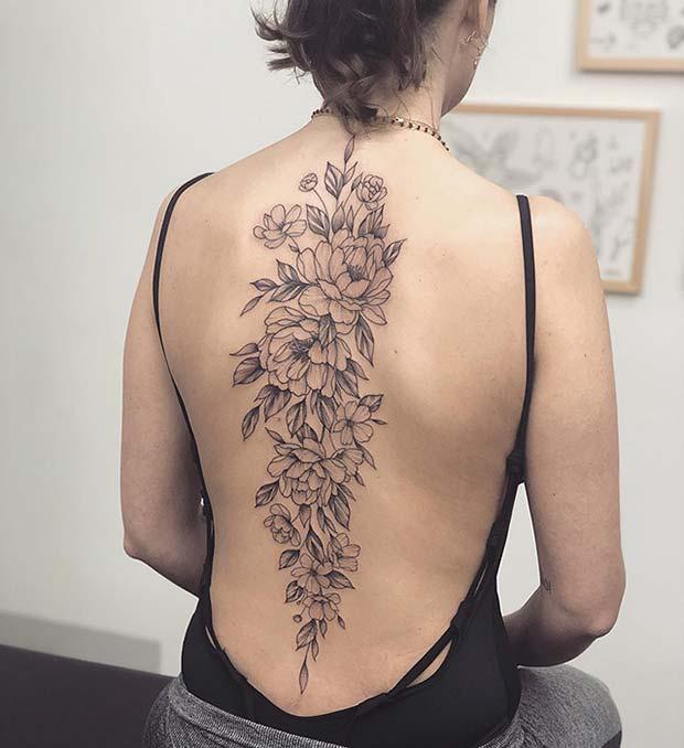 Big Peony Back Tattoo