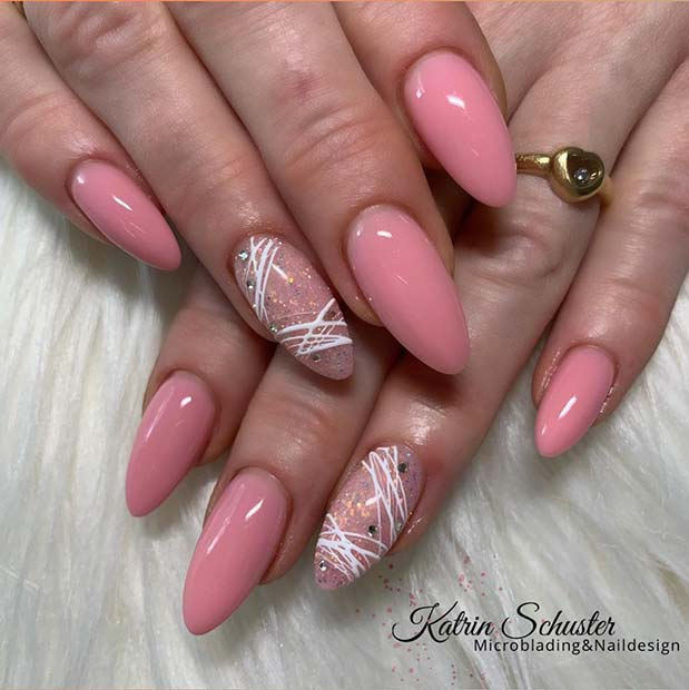 Pink Nails with Trendy White Nail Art
