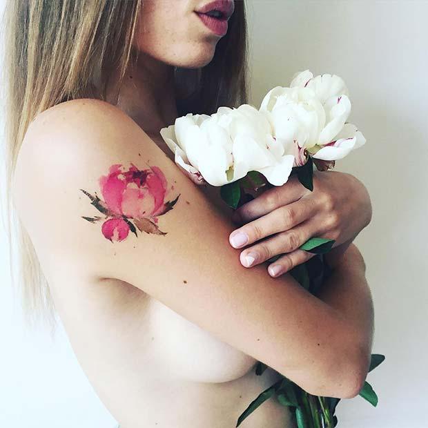 Pretty Watercolor Flower Tattoo Design