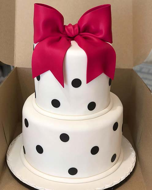 Stylish Polka Dot and Bow Baby Shower Cake