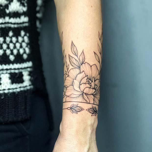 Trendy Bracelet Tattoo with Peonies