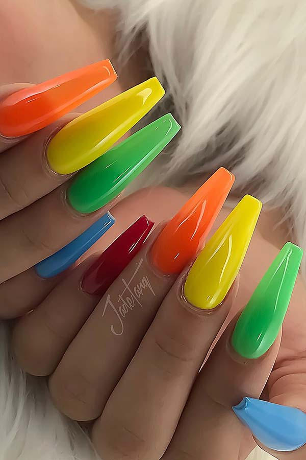 Vibrant Coffin Nail Idea for Summer