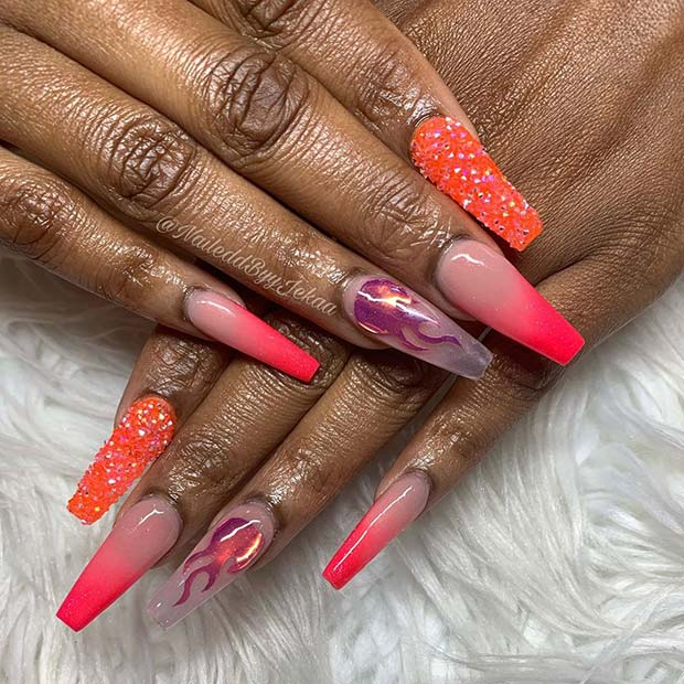 Orange Flame Nail Design