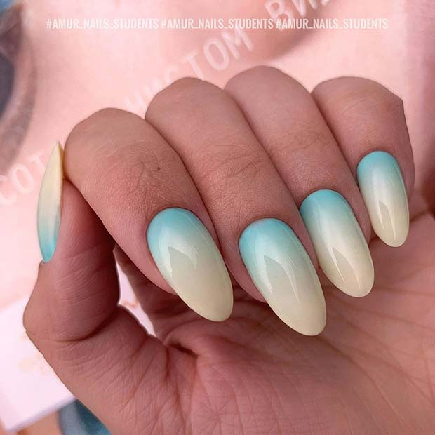 Blue and Light Yellow Ombre Nails