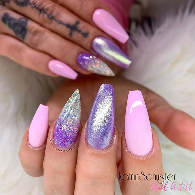 Glam Purple and Pink Nails
