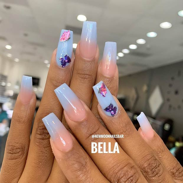 Pastel Blue Ombre Nails with Butterflies