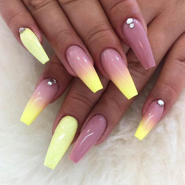 Pastel Yellow Ombre Nails