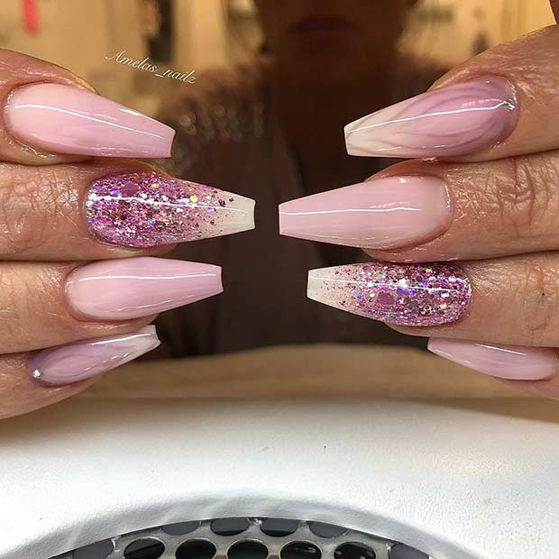 Light Pink and White Ombre Coffin Nails