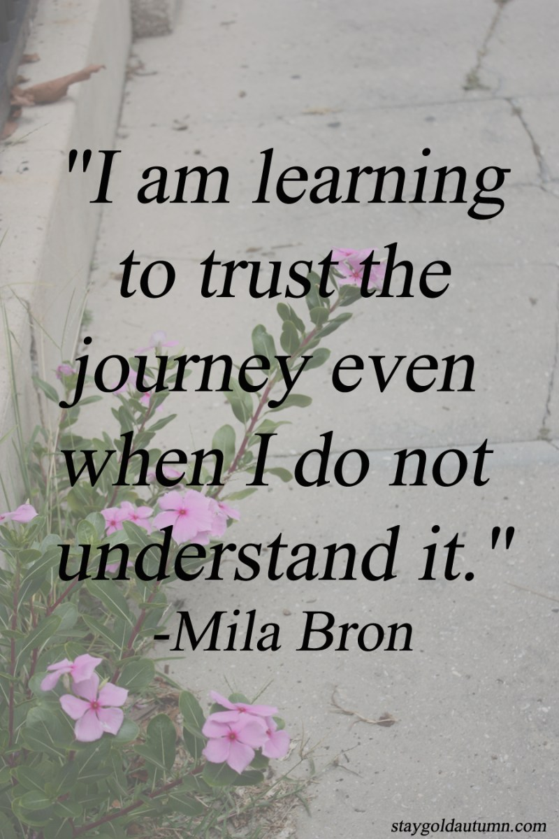 """I am learning to trust the journey even when I do not understand it."" - Mila Bron 