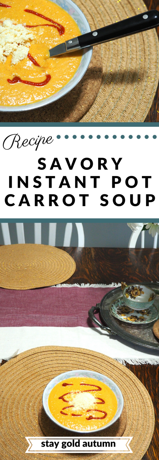 This extremely easy and savory instant pot carrot soup is going to be one you rotate regularly with your transition into fall! | via Stay gold Autumn