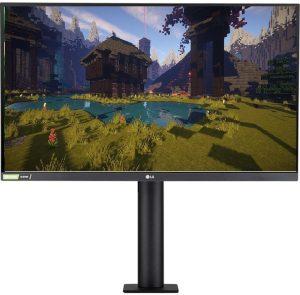 Minecraft scene on monitor LG 27GN800-B