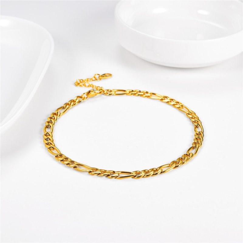U7 Simple Style Anklet Foot Chain Gold / Stainless Steel 5mm Leg Bracelet for Women Summer Beach Holiday Anklets Jewelry A330