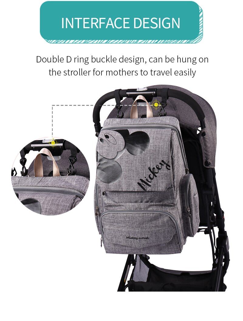 New-Design Disney Diaper Bag Backpack for Moms Mommy Baby Bags Waterproof Maternity for Baby Care Nappy Bag Travel Stroller Bag