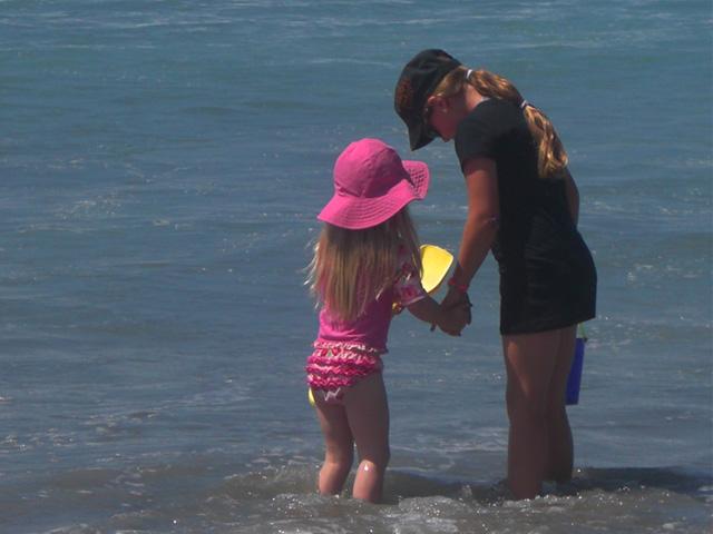 Children love that the beach is only a short walk away.