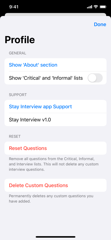 Screenshot of the Profile screen in Stay Interview for iPhone