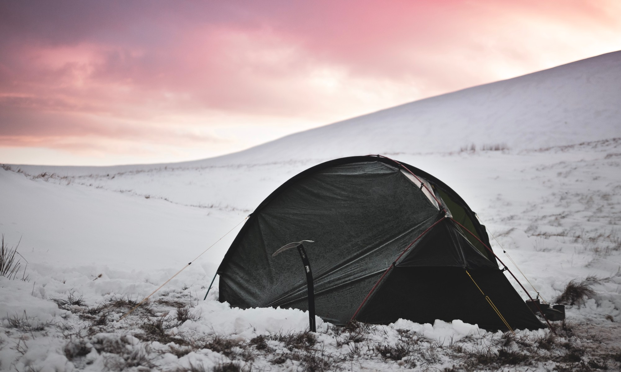 Terra Nova Southern Cross 2 tent pitched in snow in Brecon Beacons