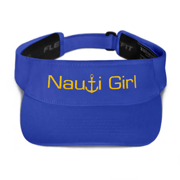 Nauti Girl Visor in Royal with Gold