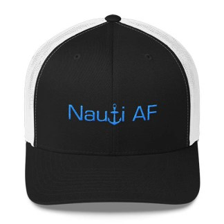 Nauti AF Trucker Hat in Black and White with Aqua
