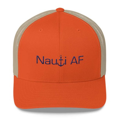 Nauti AF Trucker Hat in Orange and Blue