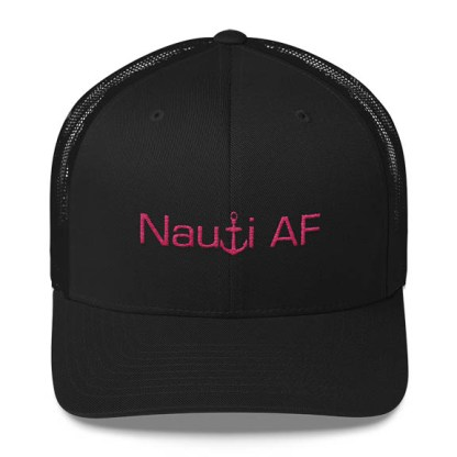 Nauti AF Trucker Hat in Black and pink