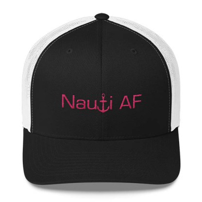 Nauti AF Trucker Hat in Black and White with Pink