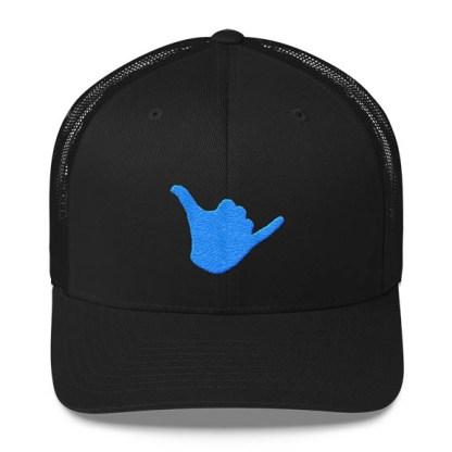 Shaka Trucker Hat in Black and Aqua