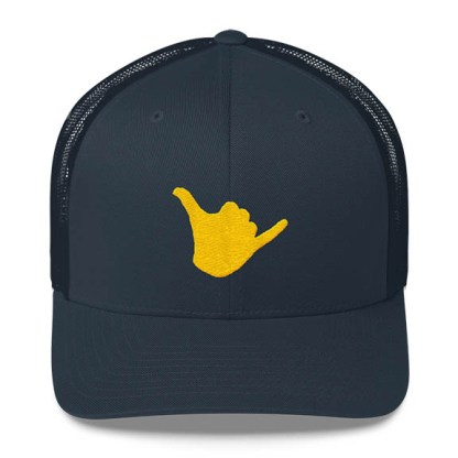 Shaka Trucker Hat in Navy and Gold