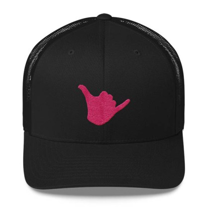 Shaka Trucker Hat in Black and Pink