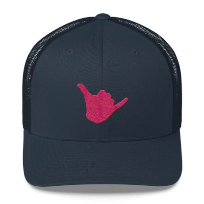 Shaka Trucker Hat in Navy and Pink