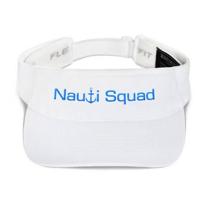 Nauti Squad Visor in White with Aqua