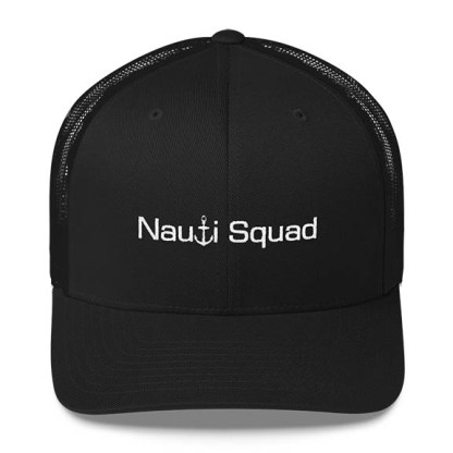 Nauti Squad Trucker Hat in Black with White