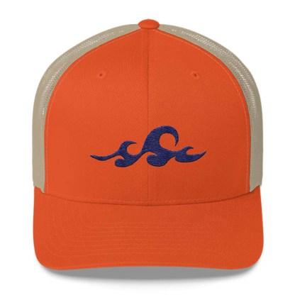 Waves Trucker Hat in Orange