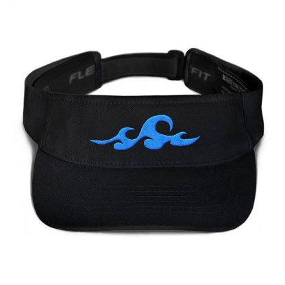 Ocean Waves Visor in Black with Aqua