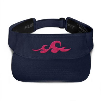 Ocean Waves Visor in Navy with Pink
